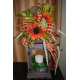 "20"" Wooden Lantern with Floral Arrangement"