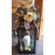 "20"" Black Iron Lantern with Floral Arrangement"